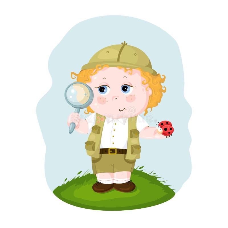 Il bambino esplora la natura Esaminando gli insetti attraverso un magnifie illustrazione di stock