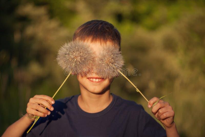 Il bambino felice con il dente di leone lanuginoso osserva in un giorno di estate Il ragazzo sta sorridendo, stile di vita fotografia stock