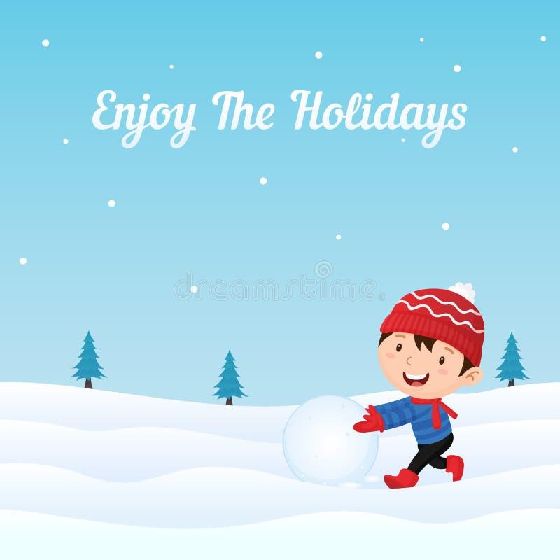 Il bambino felice gode di di giocare la palla di neve che fa il pupazzo di neve nell'illustrazione di vettore della neve Cartolin royalty illustrazione gratis