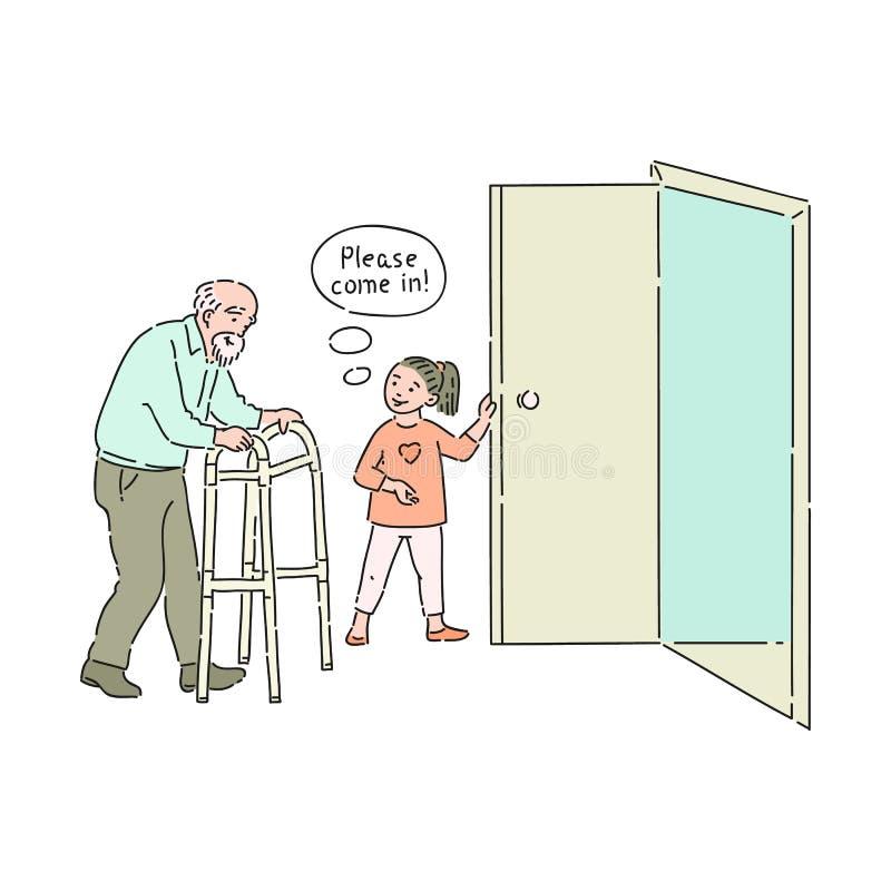 Il bambino gentile di vettore apre la porta all'uomo anziano illustrazione di stock