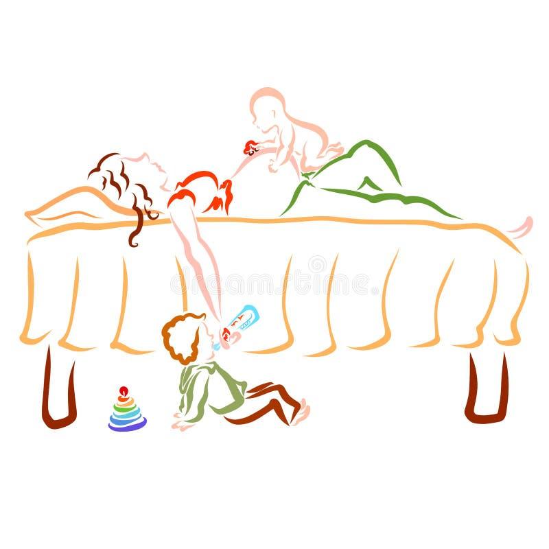 Il bambino gioca sulla pancia di una madre incinta addormentata, il bambino più anziano mangia dal imbottiglia le mani della madr illustrazione vettoriale