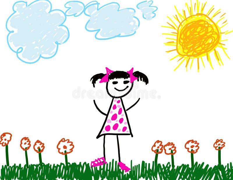 Il bambino gradice l'illustrazione della ragazza illustrazione vettoriale