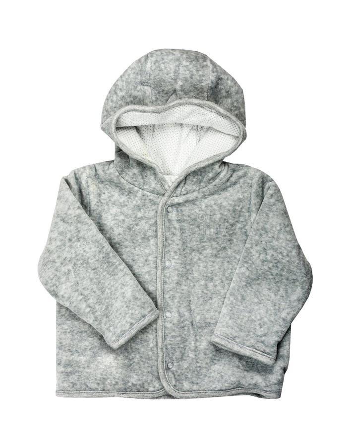 Il bambino grigio copre la maglietta felpata incappucciata fotografie stock libere da diritti