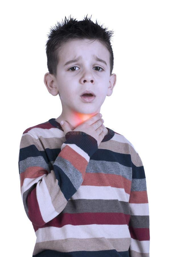 Il bambino ha malato della gola irritata fotografia stock
