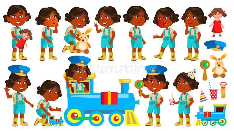 Il bambino indiano di asilo della ragazza posa il vettore stabilito indù Giocando con il treno ferroviario Espressione del bambin illustrazione di stock