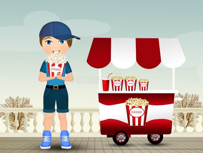 Il bambino mangia il popcorn illustrazione vettoriale
