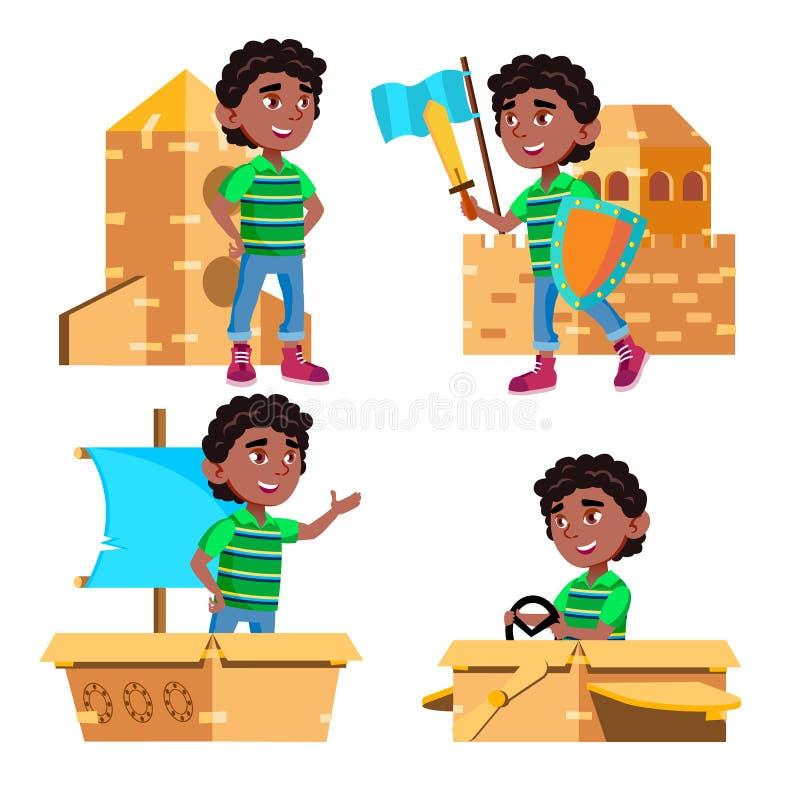 Il bambino nero e afroamericano di asilo del ragazzo posa il vettore stabilito Giocattolo della scatola di cartone Gioco emoziona royalty illustrazione gratis