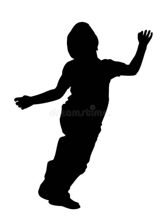 Il bambino salterà la siluetta illustrazione di stock