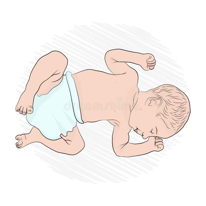 Il bambino sta dormendo Il piccolo bambino illustrazione di stock