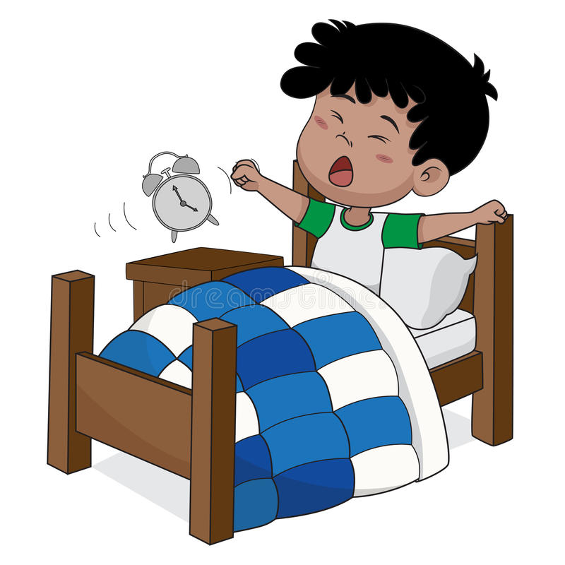 Il bambino sveglia di mattina illustrazione di stock