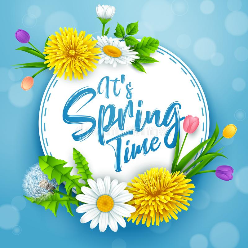 Il bannière de printemps du ` s avec le cadre rond et fleurs sur le fond de ciel bleu illustration libre de droits