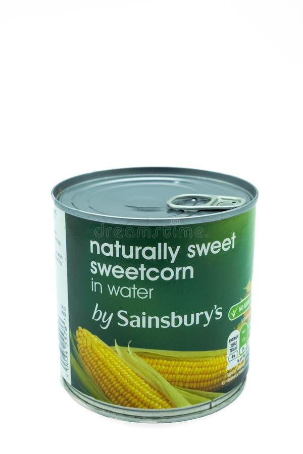 Il barattolo bollato di Sainsbury di Sweatcorn che di alluminio riciclabile può è immagini stock libere da diritti