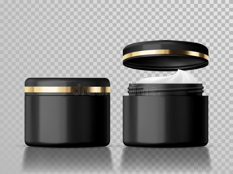 Il barattolo crema ha isolato il modello cosmetico del pacchetto di cura di pelle di vettore illustrazione vettoriale