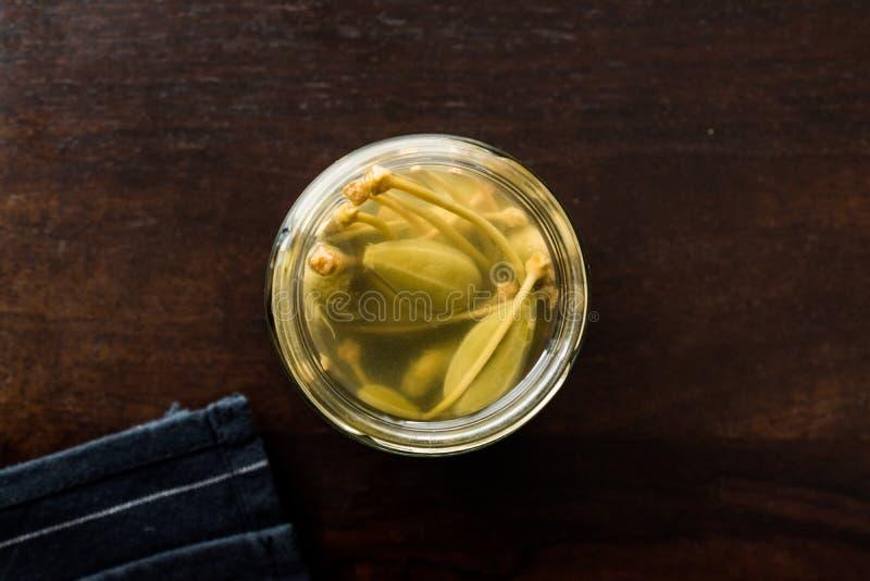 Il barattolo dei capperi in acqua ha marinato ed inscatolato pronto da mangiare in ciotola di vetro immagini stock libere da diritti