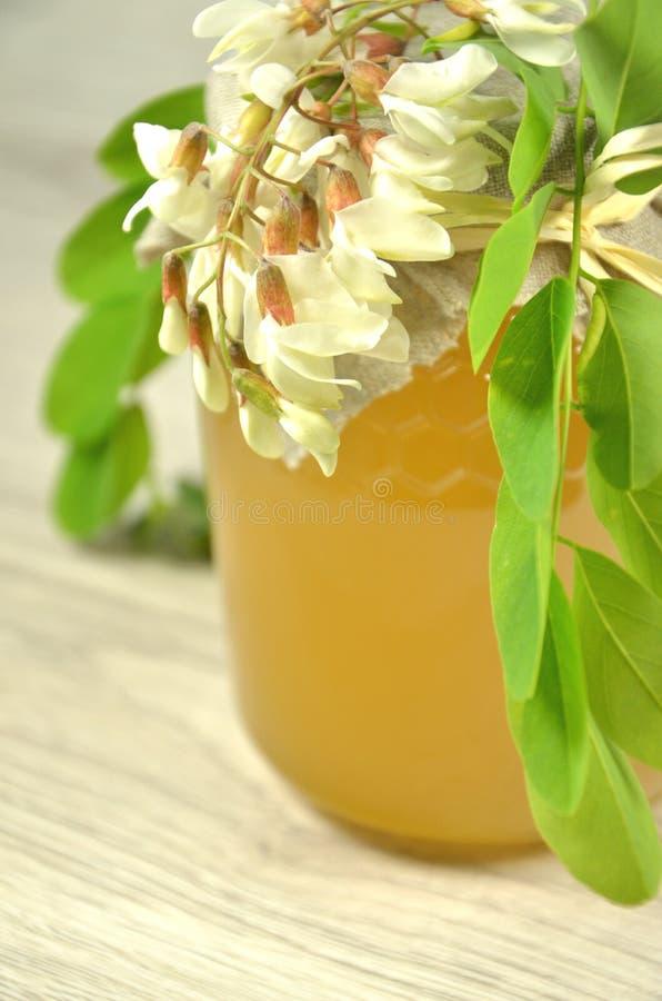 Il barattolo di miele delizioso fresco con l'acacia fiorisce immagine stock
