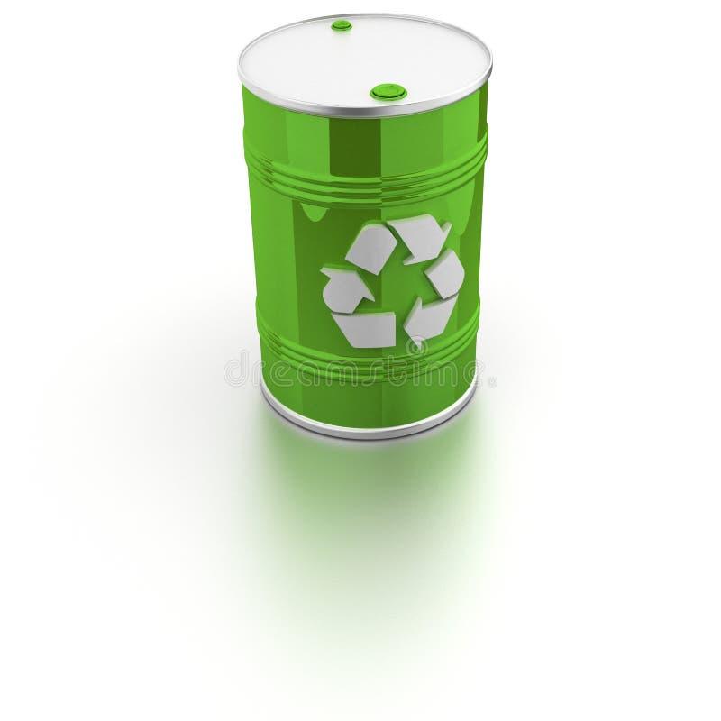 Il barilotto con ricicla il segno illustrazione vettoriale
