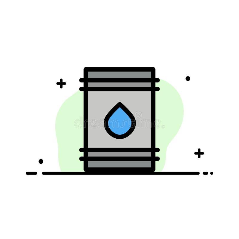 Il barilotto, olio, combustibile, flamable, linea piana di affari di Eco ha riempito il modello dell'insegna di vettore dell'icon illustrazione vettoriale