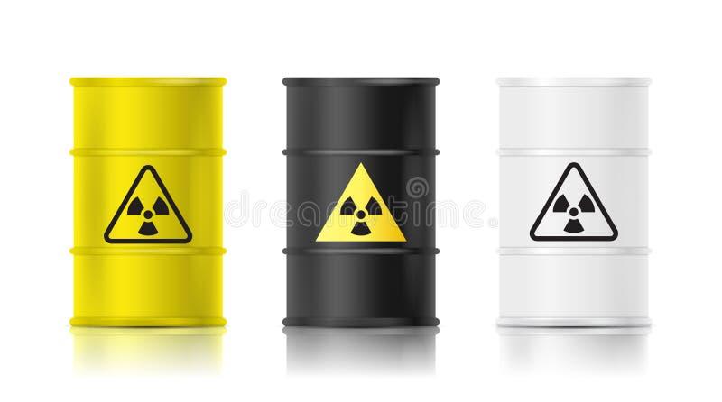 Il barilotto realistico nero, bianco e giallo ha messo con il segnale di rischio biologico Illustrazione di vettore illustrazione di stock