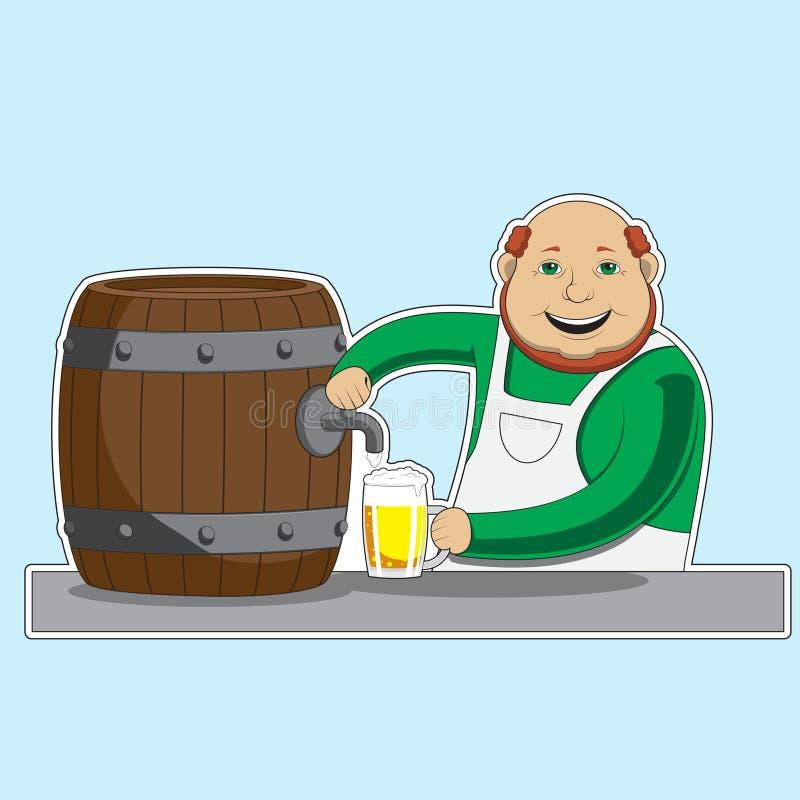 Il barista del carattere versa la birra da un barilotto in un vetro Immagine di vettore illustrazione di stock