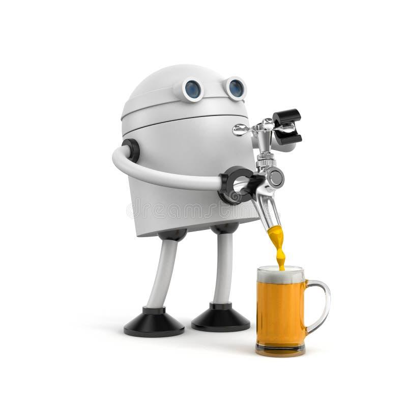 Il barista del robot versa la birra dalla birra del rubinetto Barista che versa la birra fresca in pub illustrazione di stock