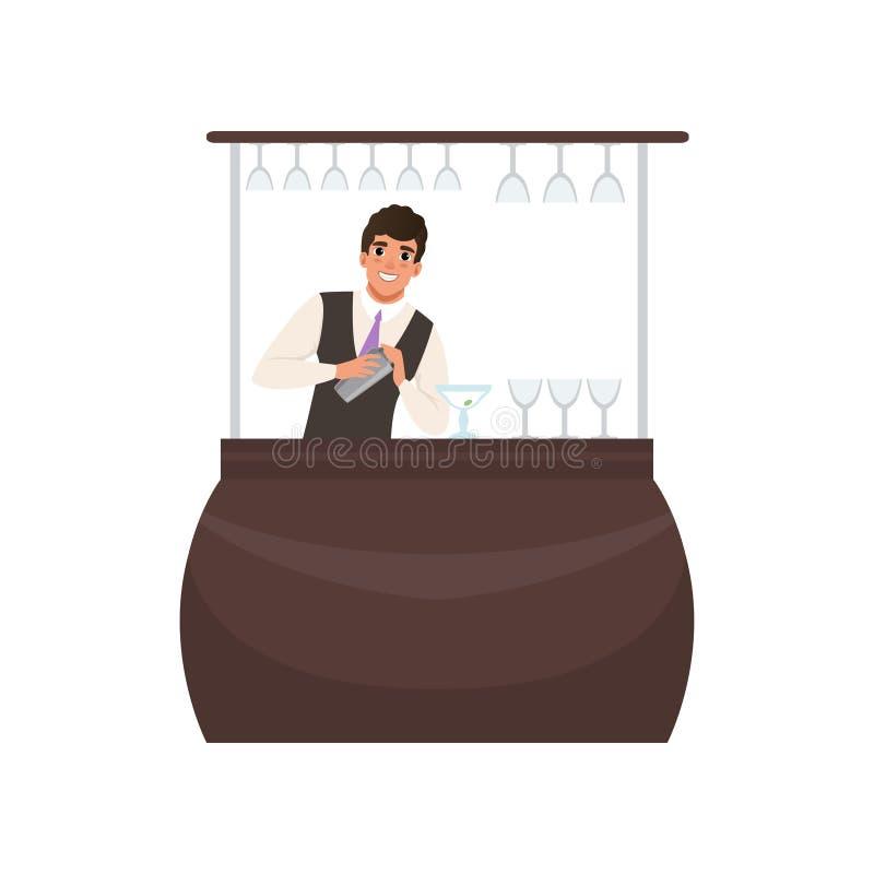Il barista sorridente che mescola un cocktail beve in agitatore al contatore della barra, carattere del barista al vettore del fu illustrazione vettoriale