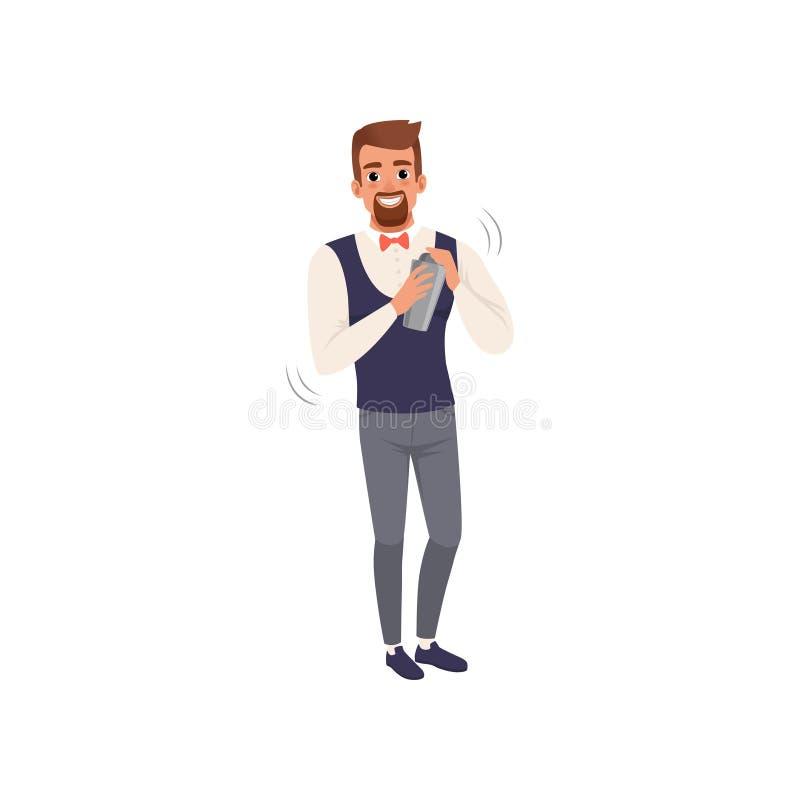 Il barista sorridente che mescola un cocktail beve in agitatore, carattere del barista all'illustrazione di vettore del fumetto d royalty illustrazione gratis