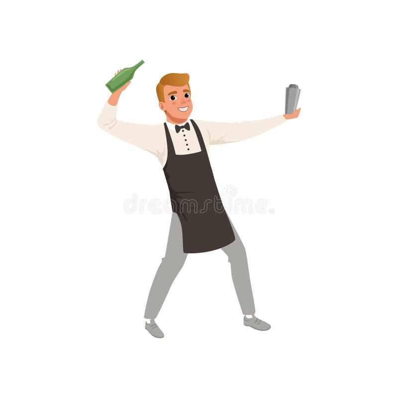 Il barista sorridente che mescola una bevanda del cocktail in agitatore, carattere del barista che fa il cocktail beve l'illustra royalty illustrazione gratis