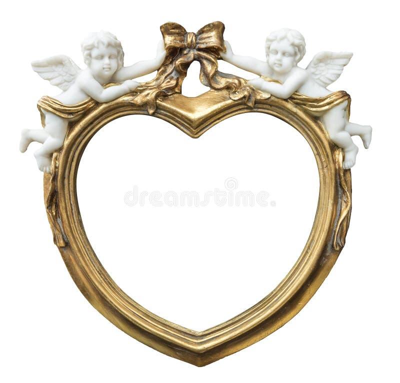 Il barocco ha dorato la struttura di fhoto nella forma di cuore con i cupidi su fondo isolato fotografia stock