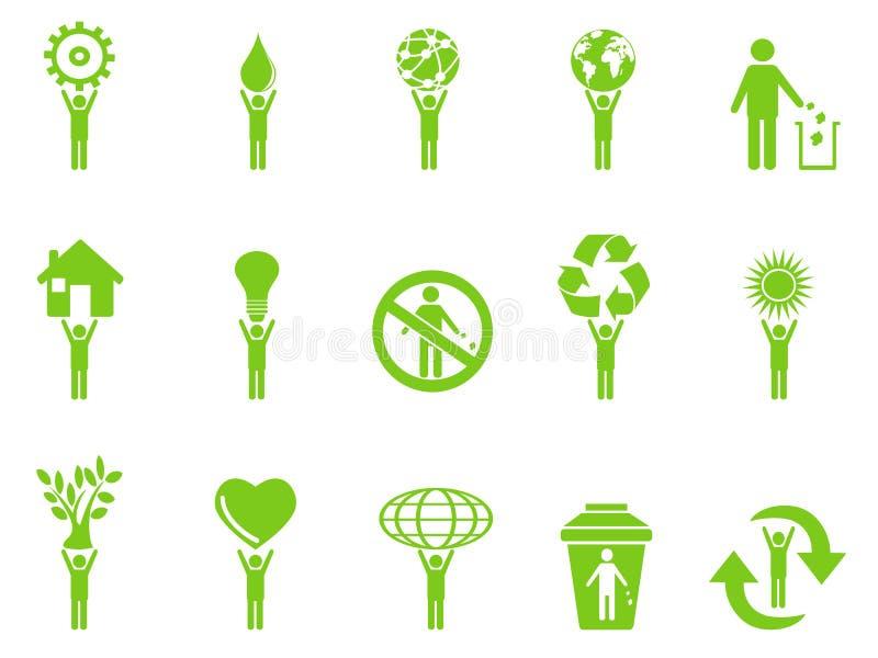Il bastone verde delle icone di eco calcola la serie royalty illustrazione gratis