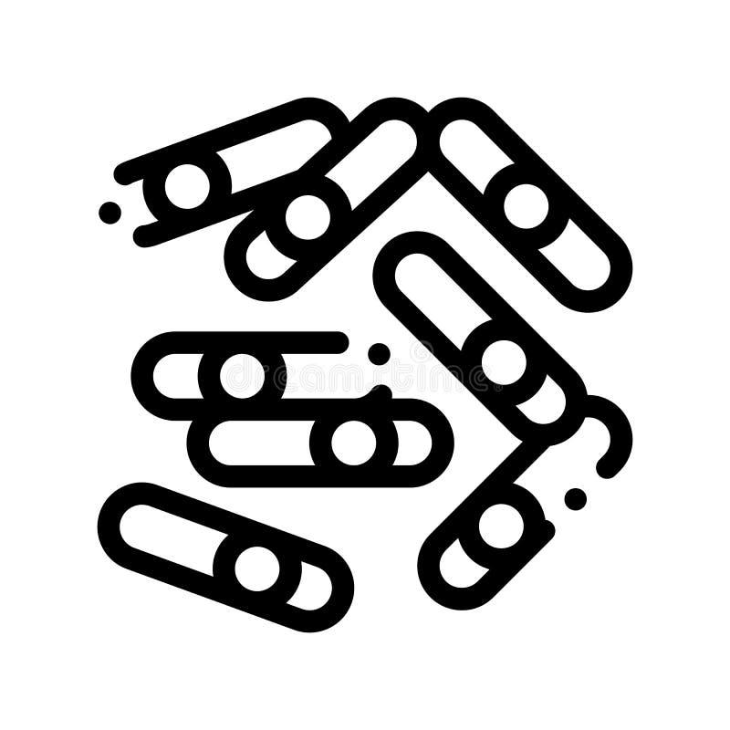 Il batterio microscopico attacca la linea sottile icona di vettore royalty illustrazione gratis