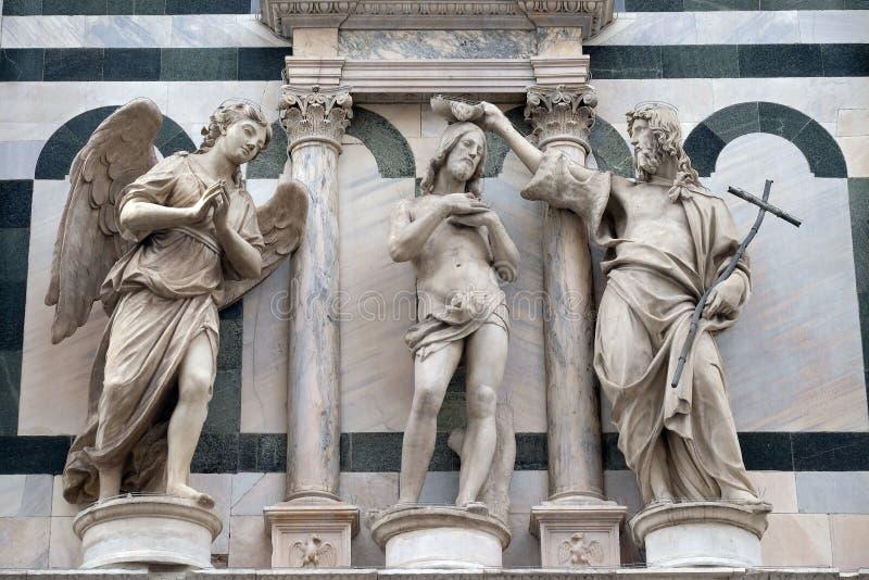 Il battesimo di Jesus Christ, battistero di Saint John, cattedrale di Firenze immagini stock libere da diritti