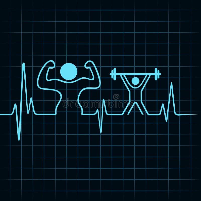 Il battito cardiaco fa un costruttore di corpo e un uomo di sollevamento pesi illustrazione vettoriale
