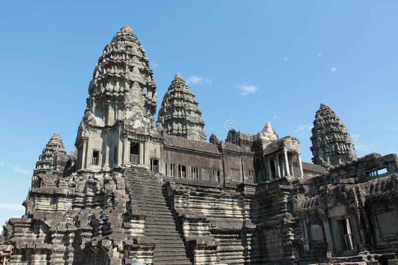 Il Bayon è un tempio khmer pienamente decorato a Angkor in Cambogia fotografia stock