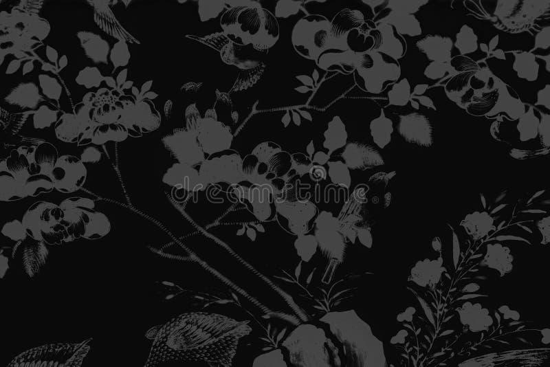 Il bei uccello dell'albero e pitture di arte dei fiori colorano il fondo e la carta da parati bianchi e neri del modello dell'ill illustrazione di stock