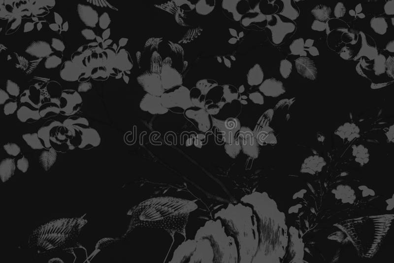 Il bei uccello dell'albero e pitture di arte dei fiori colorano il fondo e la carta da parati bianchi e neri del modello dell'ill illustrazione vettoriale