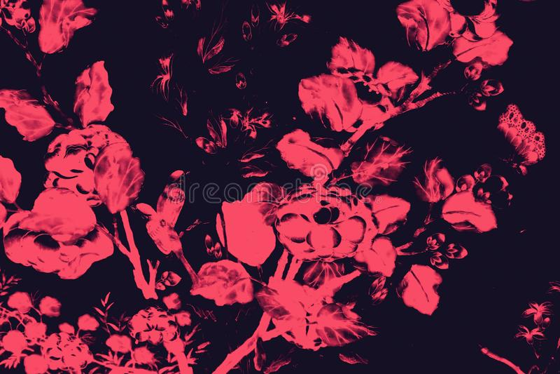 Il bei uccello dell'albero e pitture di arte dei fiori colorano il rosa e fondo e carta da parati neri del modello dell'illustraz illustrazione di stock