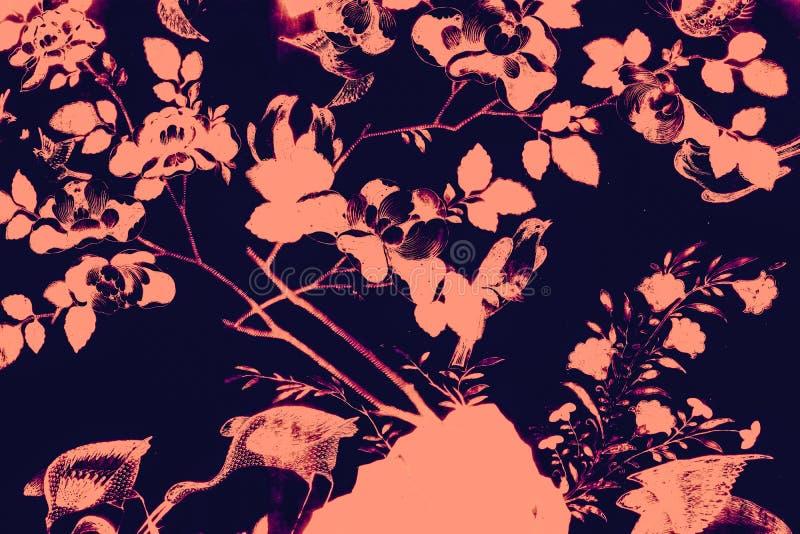 Il bei uccello dell'albero e pitture di arte dei fiori colorano il rosa e fondo e carta da parati neri del modello dell'illustraz royalty illustrazione gratis