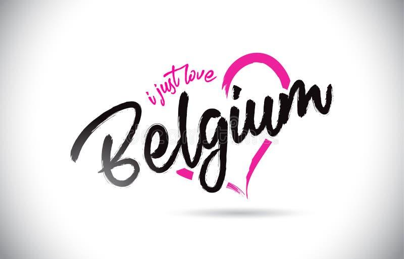 Il Belgio amo appena il testo di parola con la fonte scritta a mano e la forma rosa del cuore royalty illustrazione gratis