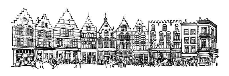 Il Belgio, Bruges - vecchia casa con mattoni a vista illustrazione di stock