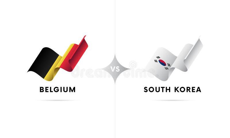 Il Belgio contro la Corea del Sud Calcio Illustrazione di vettore illustrazione di stock