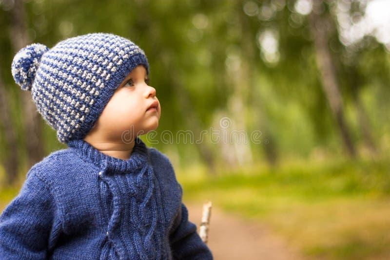 Il bello bambino cammina attraverso la foresta, esaminante meditatamente la distanza; Intorno sono gli alberi ed il fogliame verd fotografie stock