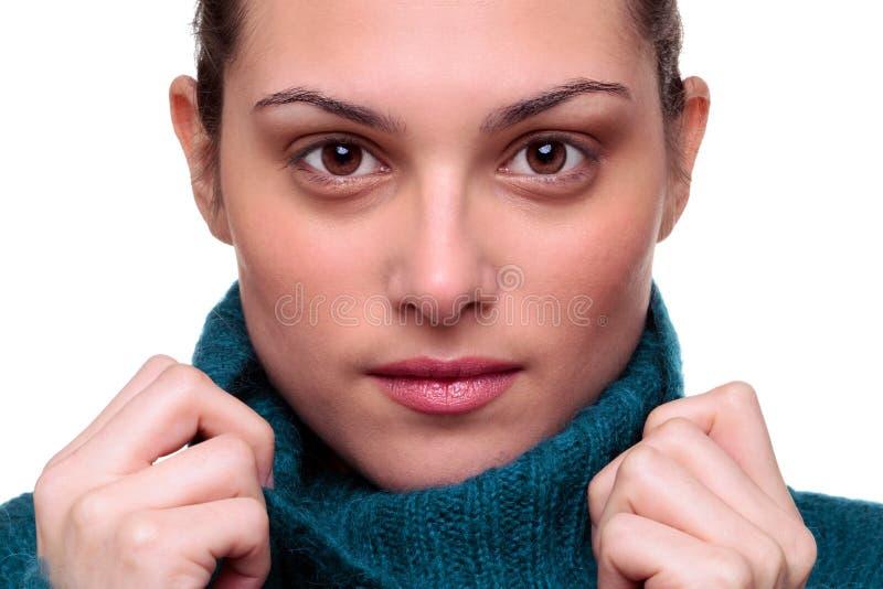 Il bello brunette con colore marrone eyes il ritratto immagine stock libera da diritti