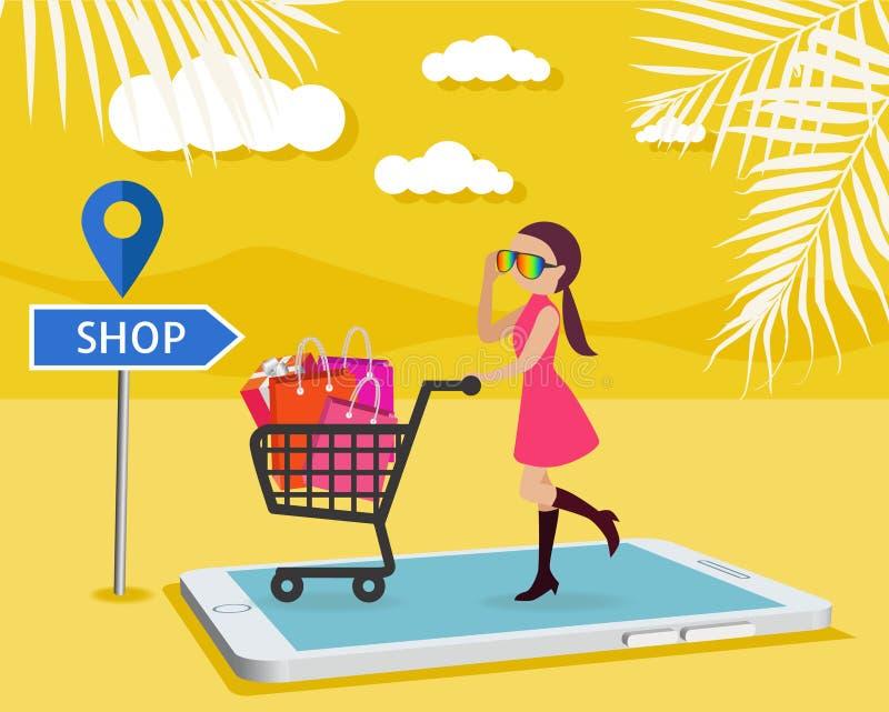 Il bello compratore di donna fa l'ordine sul cellulare il app, bello felice illustrazione vettoriale