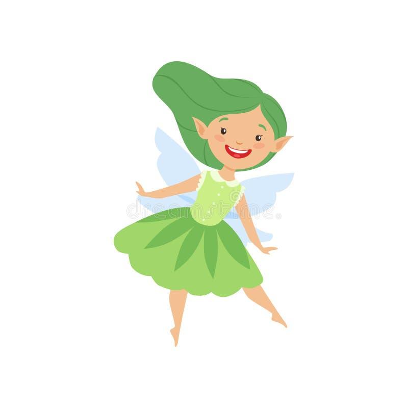 Il bello fatato alato poco sveglio, la ragazza adorabile con capelli lunghi ed il vestito nei colori verdi vector l'illustrazione illustrazione di stock
