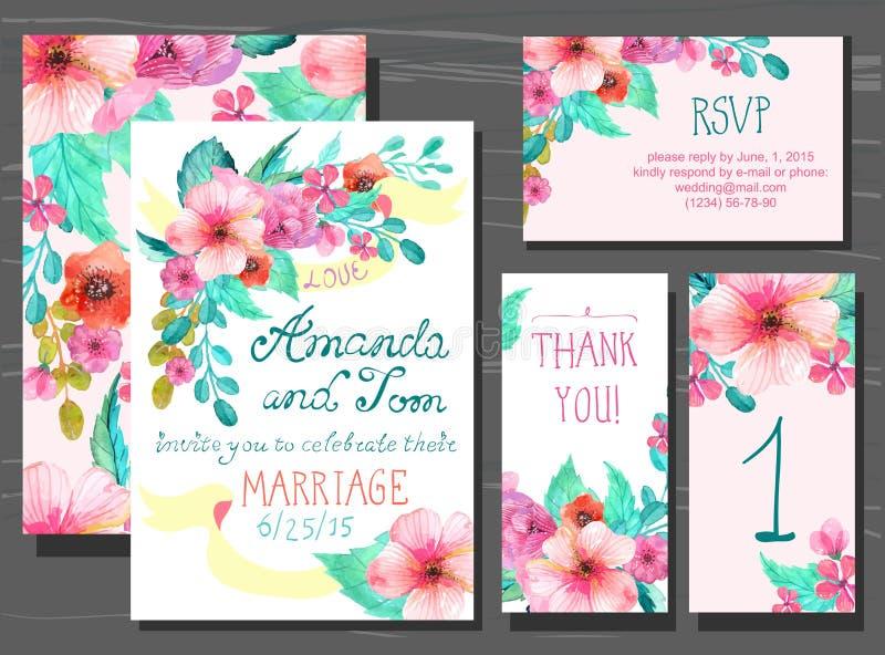 Il bello insieme delle carte dell'invito con l'acquerello fiorisce i elemen royalty illustrazione gratis