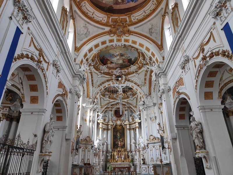 Il bello interno dell'abbazia di Elchingen del monastero del benedettino fotografia stock libera da diritti