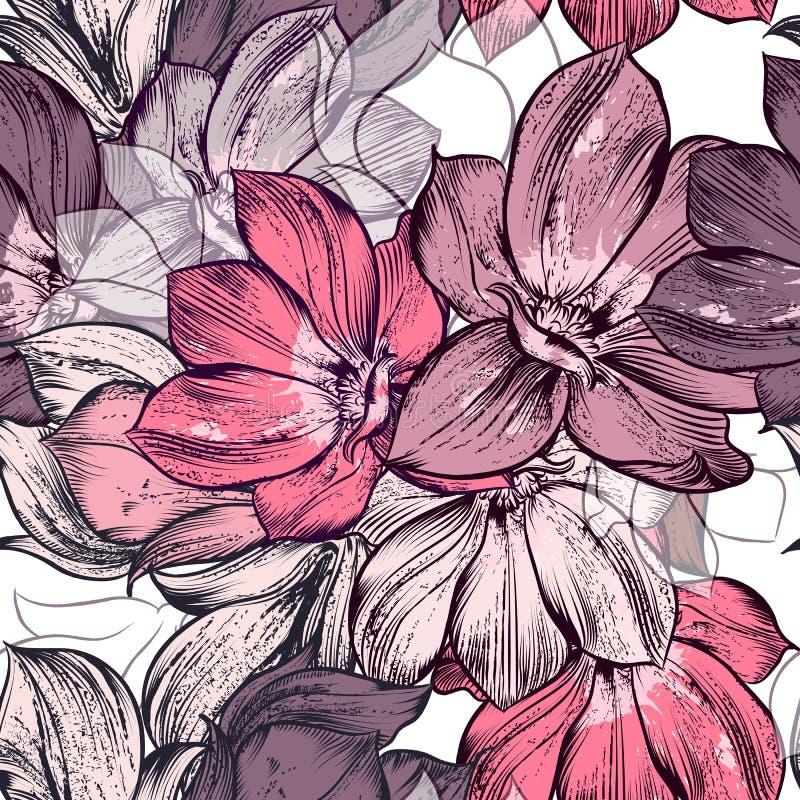 Il bello modello di vettore con la magnolia fiorisce le piante Ideale per illustrazione di stock