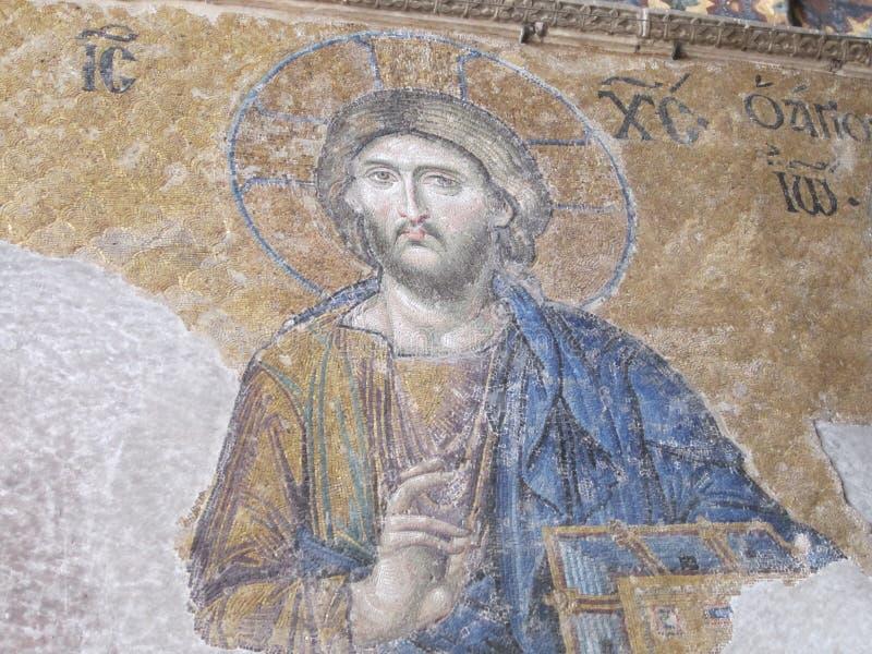 Il bello mosaico di Jesus Christ in Hagia Sofia, Costantinopoli, Turchia fotografie stock libere da diritti