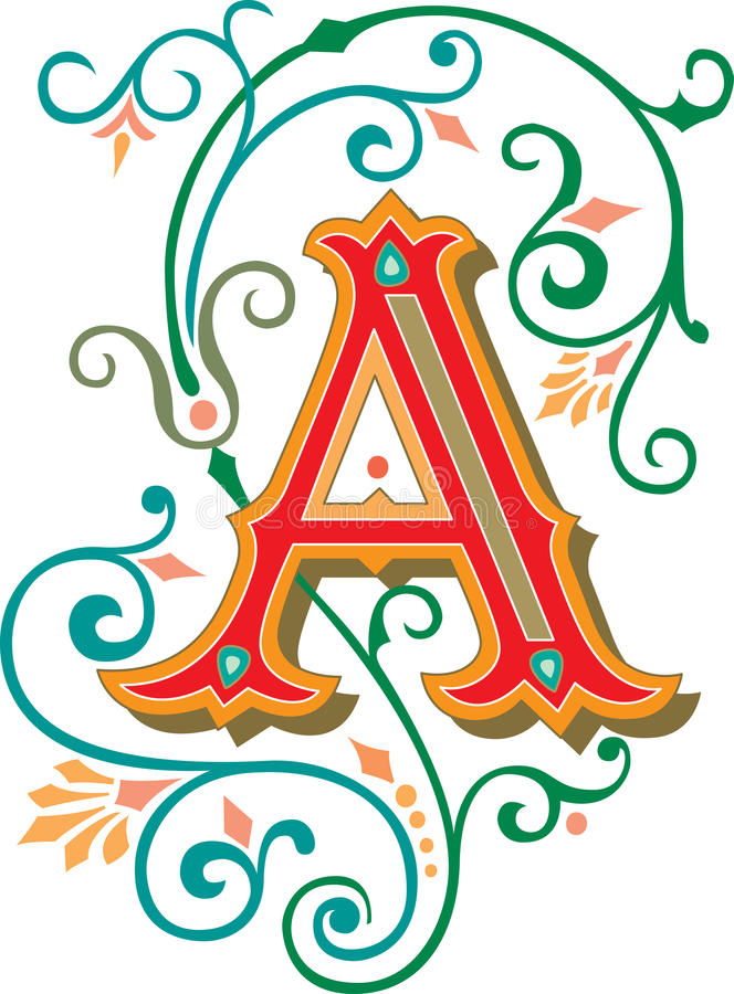 Il bello ornamento, segna A con lettere royalty illustrazione gratis