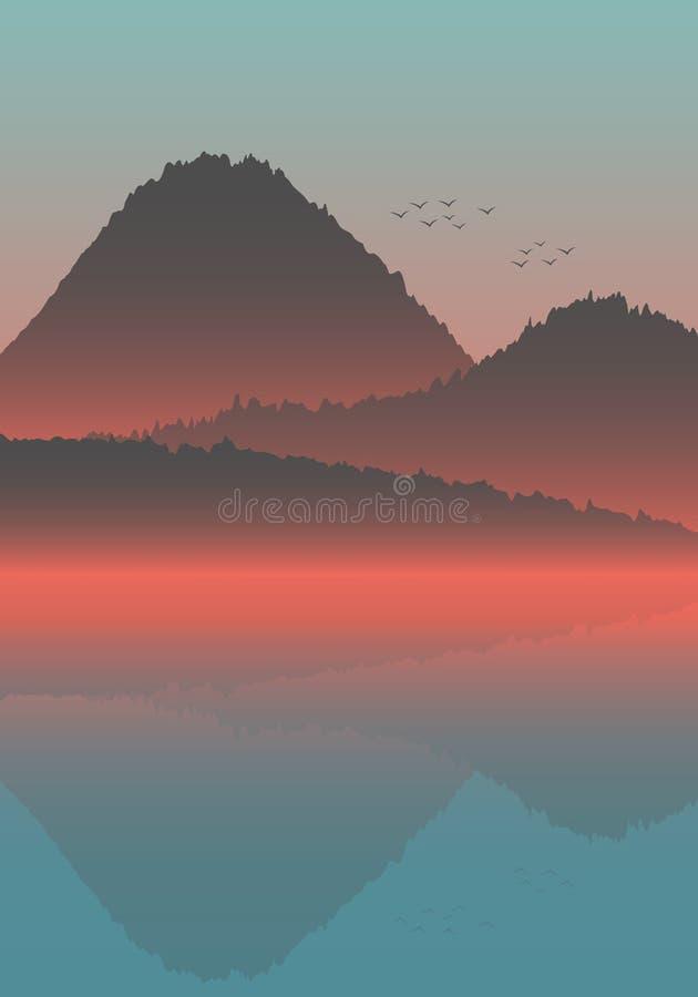 Il bello paesaggio minimalistic di vista di oceano di ora legale sul tramonto e sugli aeroplani che attraversano through il cielo illustrazione di stock